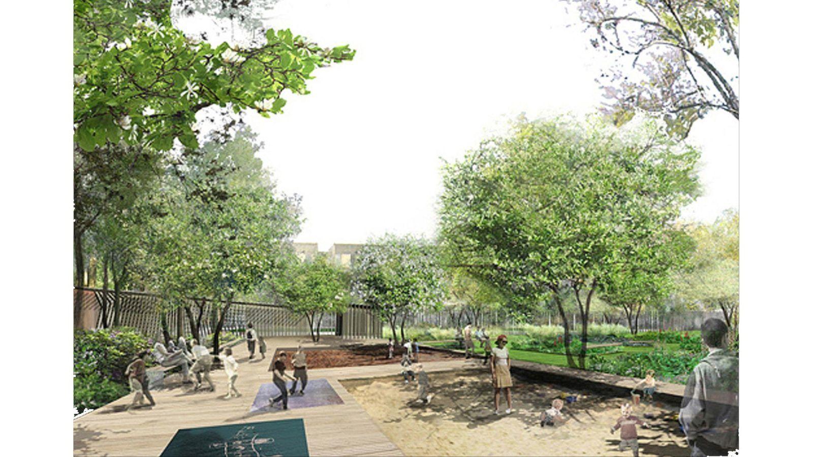 Parc public et  liaison piétonne des Archives - Mutabilis